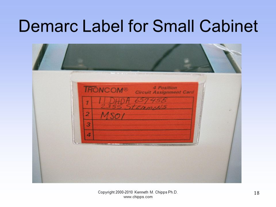 Demarc Label for Small Cabinet Copyright 2000-2010 Kenneth M. Chipps Ph.D. www.chipps.com 18
