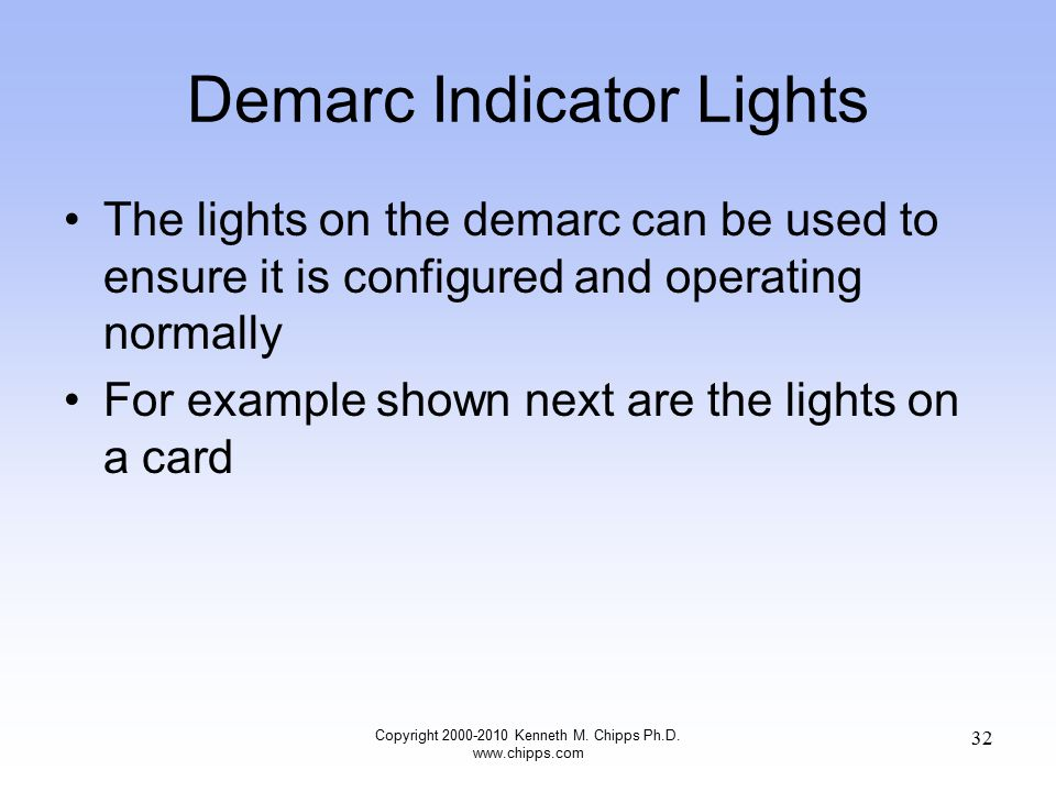 Demarc Indicator Lights The lights on the demarc can be used to ensure it is configured and operating normally For example shown next are the lights o
