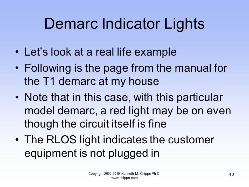 Demarc Indicator Lights Let's look at a real life example Following is the page from the manual for the T1 demarc at my house Note that in this case, with this particular model demarc, a red light may be on even though the circuit itself is fine The RLOS light indicates the customer equipment is not plugged in Copyright 2000-2010 Kenneth M.