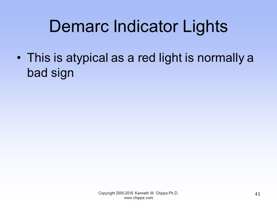 Demarc Indicator Lights This is atypical as a red light is normally a bad sign Copyright 2000-2010 Kenneth M.
