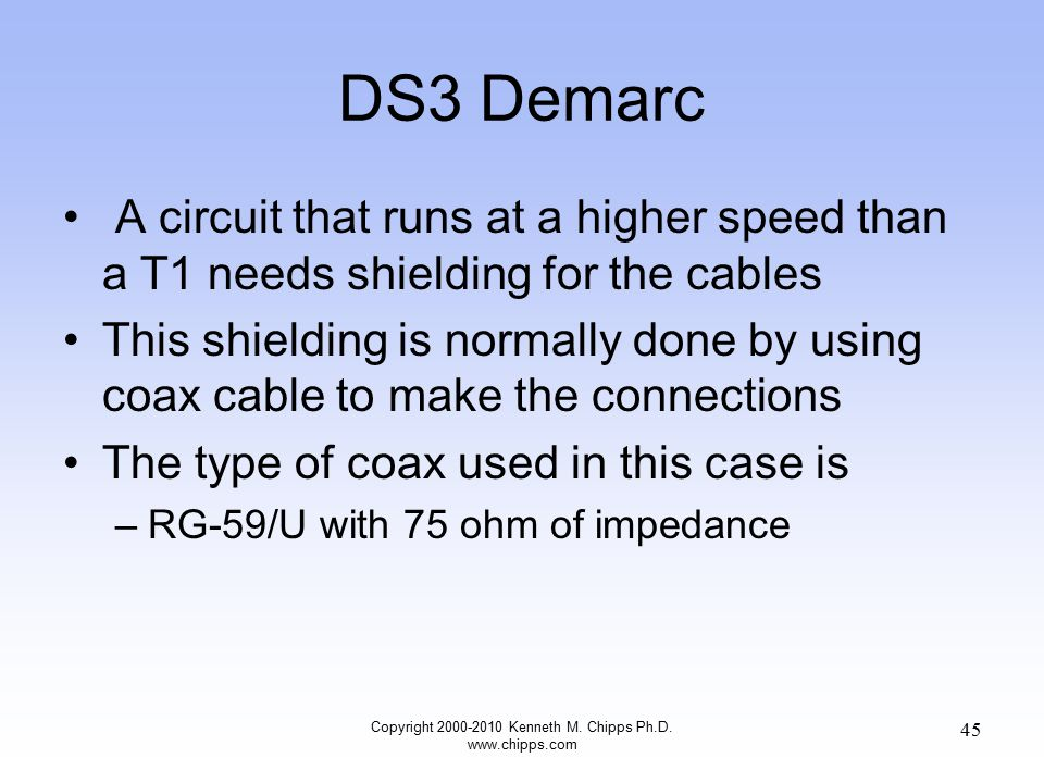 DS3 Demarc A circuit that runs at a higher speed than a T1 needs shielding for the cables This shielding is normally done by using coax cable to make the connections The type of coax used in this case is –RG-59/U with 75 ohm of impedance Copyright 2000-2010 Kenneth M.