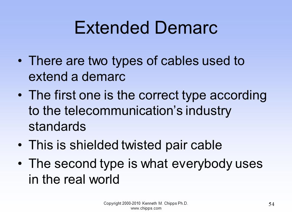 Extended Demarc There are two types of cables used to extend a demarc The first one is the correct type according to the telecommunication's industry standards This is shielded twisted pair cable The second type is what everybody uses in the real world Copyright 2000-2010 Kenneth M.