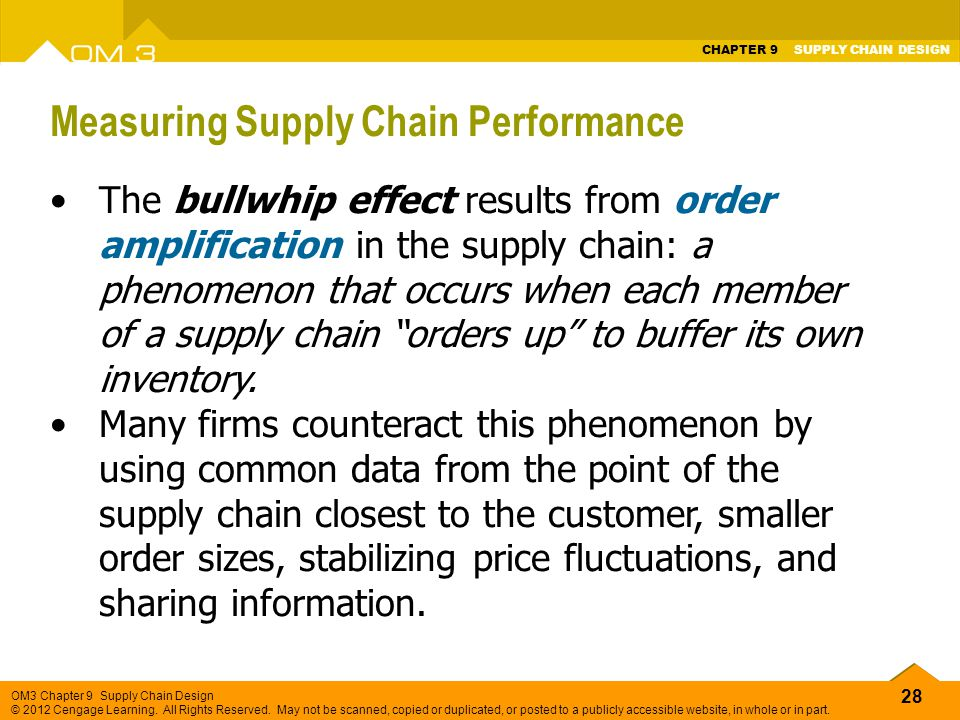 28 OM3 Chapter 9 Supply Chain Design © 2012 Cengage Learning. All Rights Reserved. May not be scanned, copied or duplicated, or posted to a publicly a