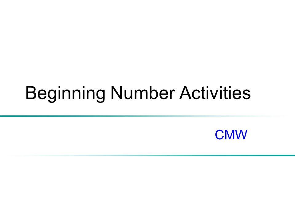 Beginning Number Activities CMW