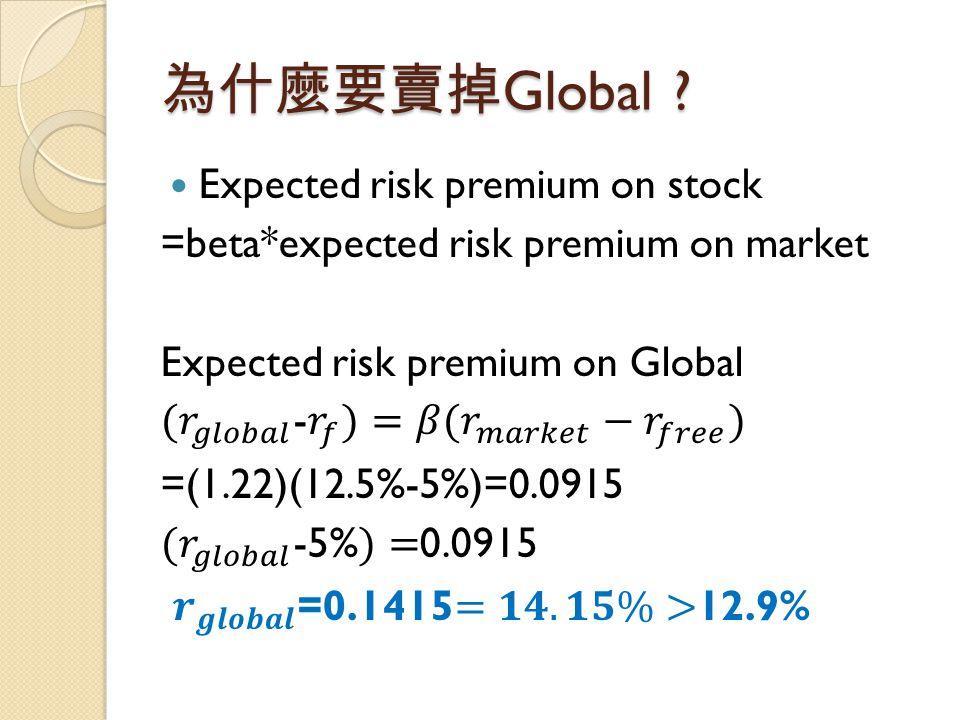 為什麼要賣掉 Global ?