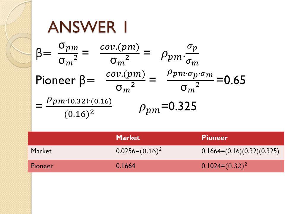 ANSWER 1 MarketPioneer Market0.1664=(0.16)(0.32)(0.325) Pioneer0.1664