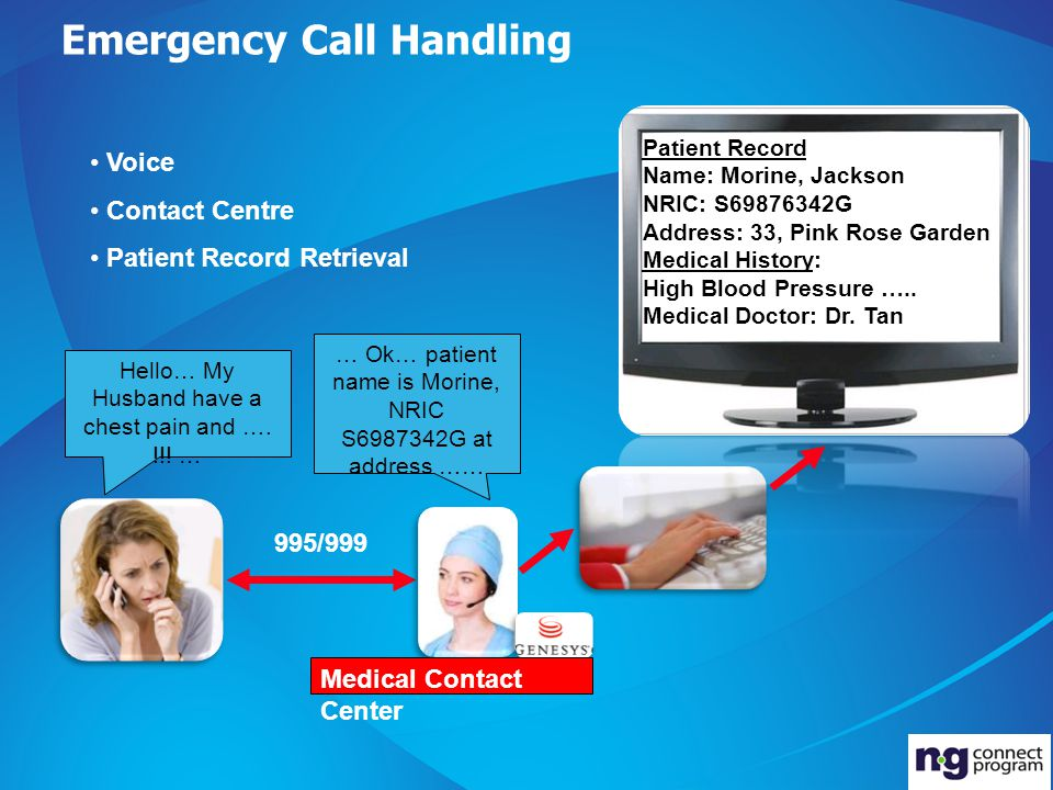 Emergency Call Handling 995/999 Hello… My Husband have a chest pain and ….