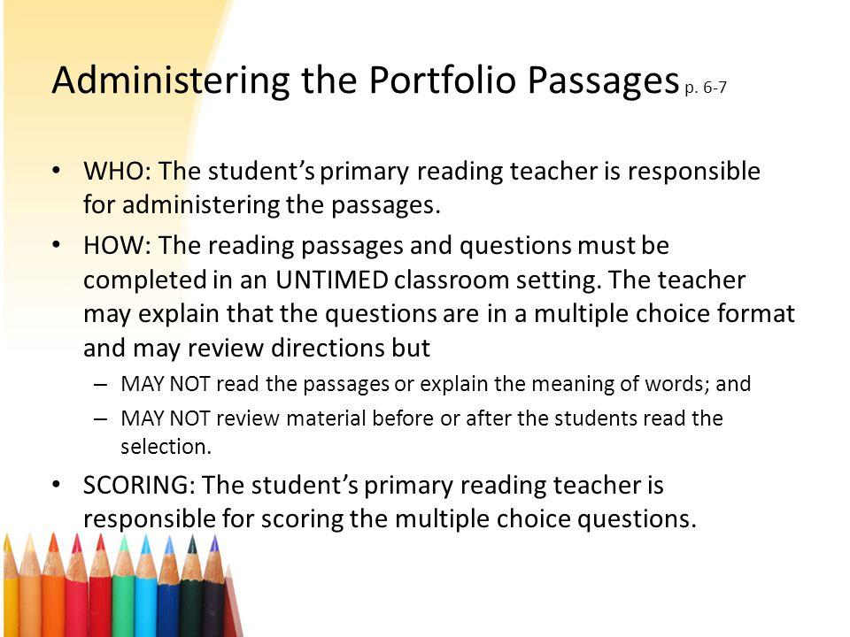 Administering the Portfolio Passages p.