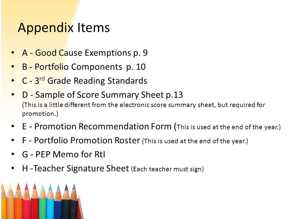 Appendix Items A - Good Cause Exemptions p. 9 B - Portfolio Components p.
