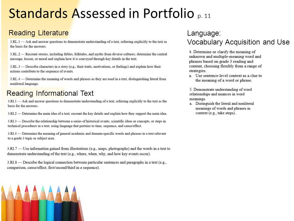 Standards Assessed in Portfolio p.