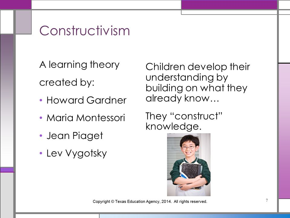 """Children develop their understanding by building on what they already know… They """"construct"""" knowledge. A learning theory created by: Howard Gardner M"""