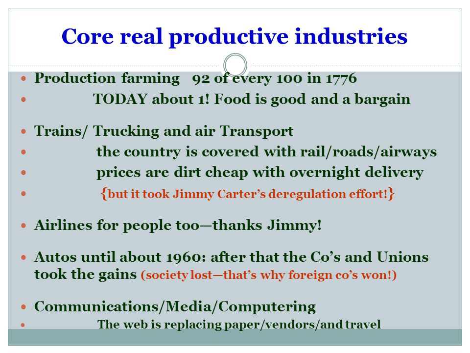 Core real productive industries Production farming 92 of every 100 in 1776 TODAY about 1.