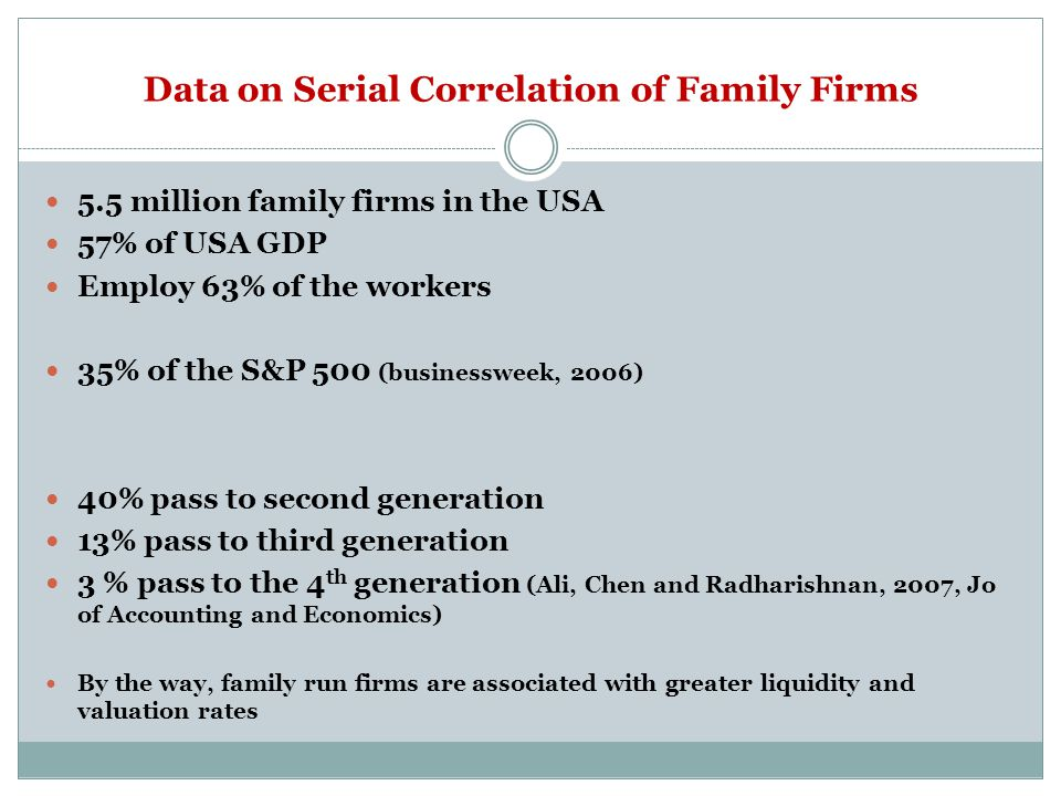 Data on Serial Correlation of Family Firms 5.5 million family firms in the USA 57% of USA GDP Employ 63% of the workers 35% of the S&P 500 (businessweek, 2006) 40% pass to second generation 13% pass to third generation 3 % pass to the 4 th generation (Ali, Chen and Radharishnan, 2007, Jo of Accounting and Economics) By the way, family run firms are associated with greater liquidity and valuation rates