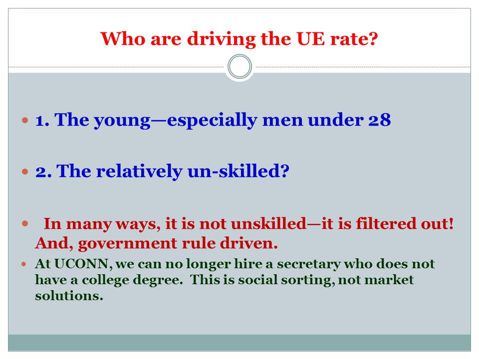 Who are driving the UE rate. 1. The young—especially men under 28 2.