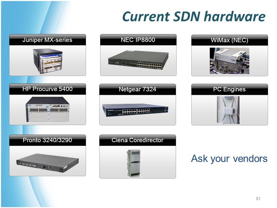 Ciena Coredirector NEC IP8800 Current SDN hardware Ask your vendors Juniper MX-series HP Procurve 5400 Pronto 3240/3290 WiMax (NEC) PC Engines Netgear 7324 81