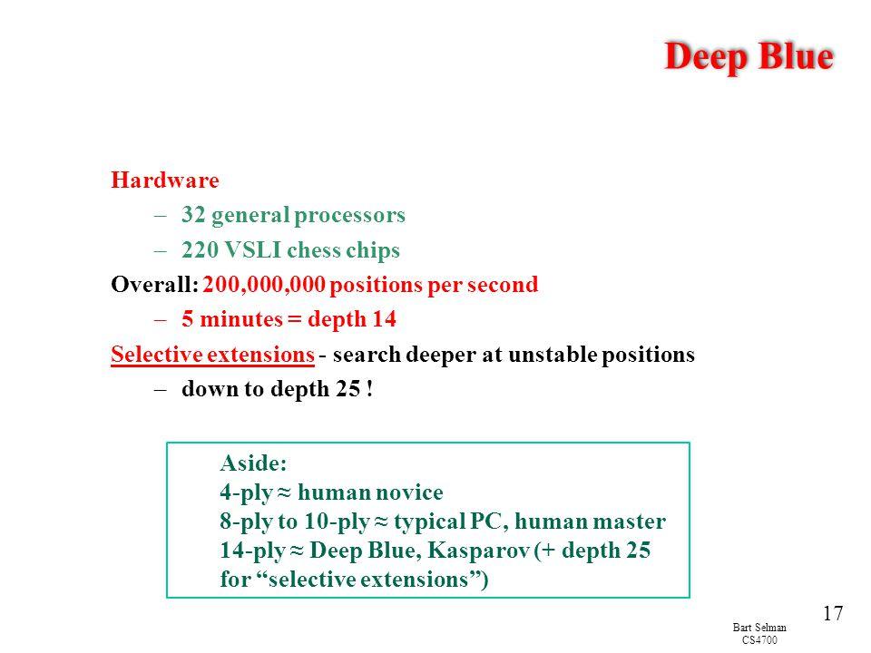 Bart Selman CS4700 17 Deep Blue Hardware –32 general processors –220 VSLI chess chips Overall: 200,000,000 positions per second –5 minutes = depth 14