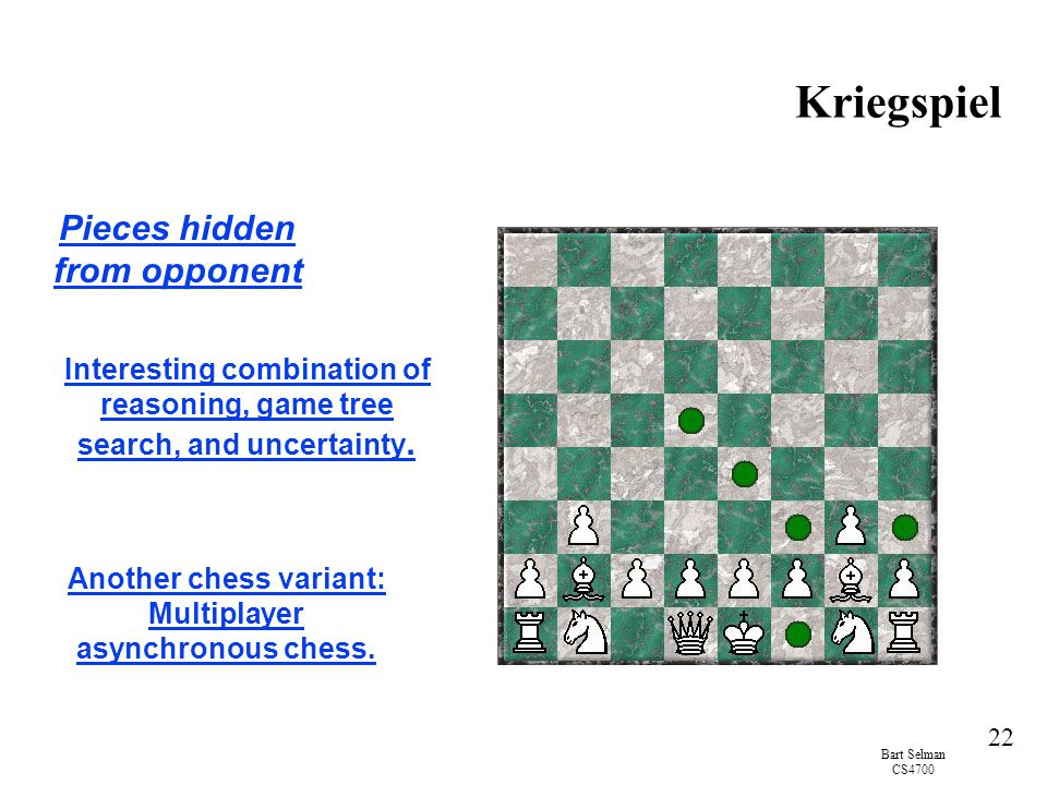 Bart Selman CS4700 22 Kriegspiel Pieces hidden from opponent Interesting combination of reasoning, game tree search, and uncertainty.