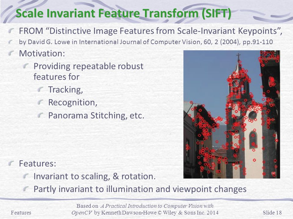 """Scale Invariant Feature Transform (SIFT) FROM """"Distinctive Image Features from Scale-Invariant Keypoints"""", by David G. Lowe in International Journal o"""