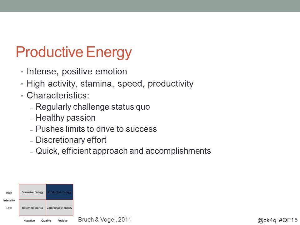@ck4q #QF15 Productive Energy Intense, positive emotion High activity, stamina, speed, productivity Characteristics: – Regularly challenge status quo – Healthy passion – Pushes limits to drive to success – Discretionary effort – Quick, efficient approach and accomplishments Bruch & Vogel, 2011
