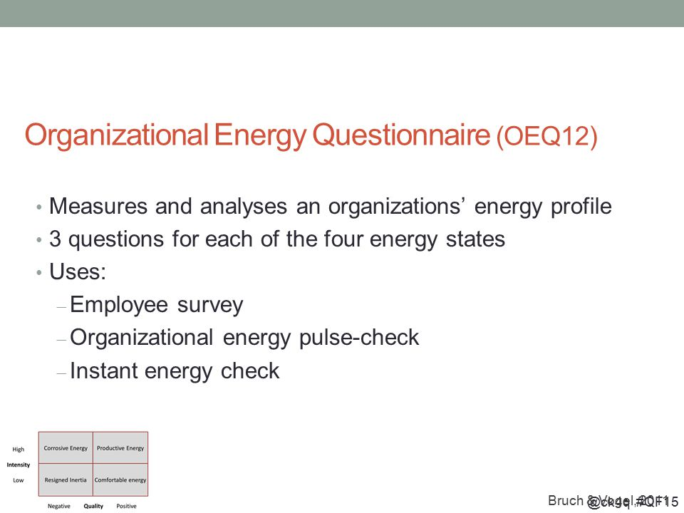 @ck4q #QF15 Organizational Energy Questionnaire (OEQ12) Measures and analyses an organizations' energy profile 3 questions for each of the four energy states Uses:  Employee survey  Organizational energy pulse-check  Instant energy check Bruch & Vogel, 2011