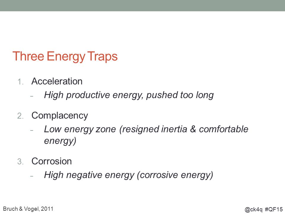 @ck4q #QF15 Three Energy Traps 1. Acceleration – High productive energy, pushed too long 2. Complacency – Low energy zone (resigned inertia & comforta