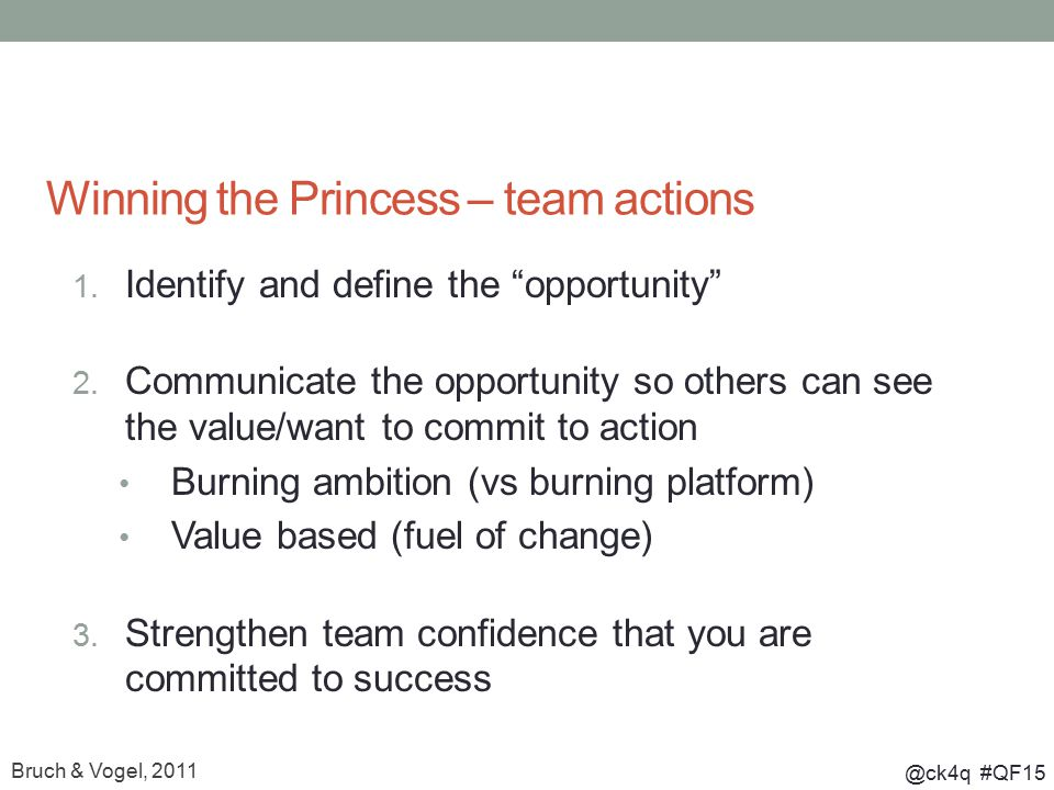 @ck4q #QF15 Winning the Princess – team actions 1.