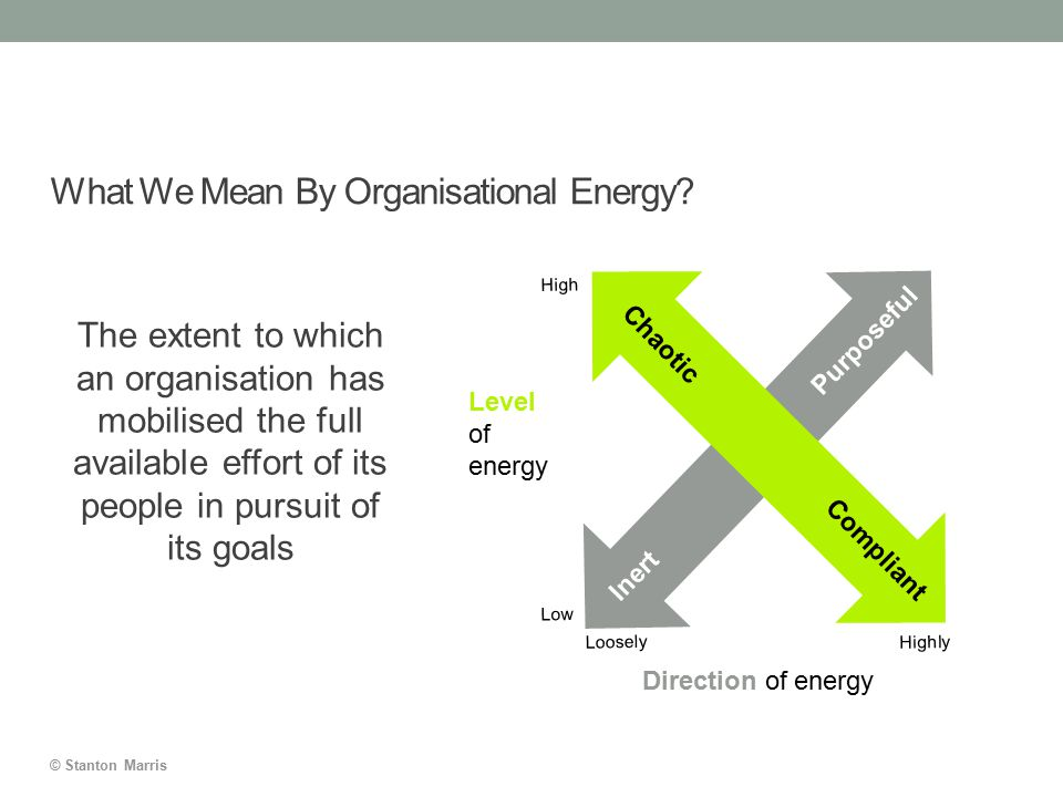 © Stanton Marris What We Mean By Organisational Energy? The extent to which an organisation has mobilised the full available effort of its people in p