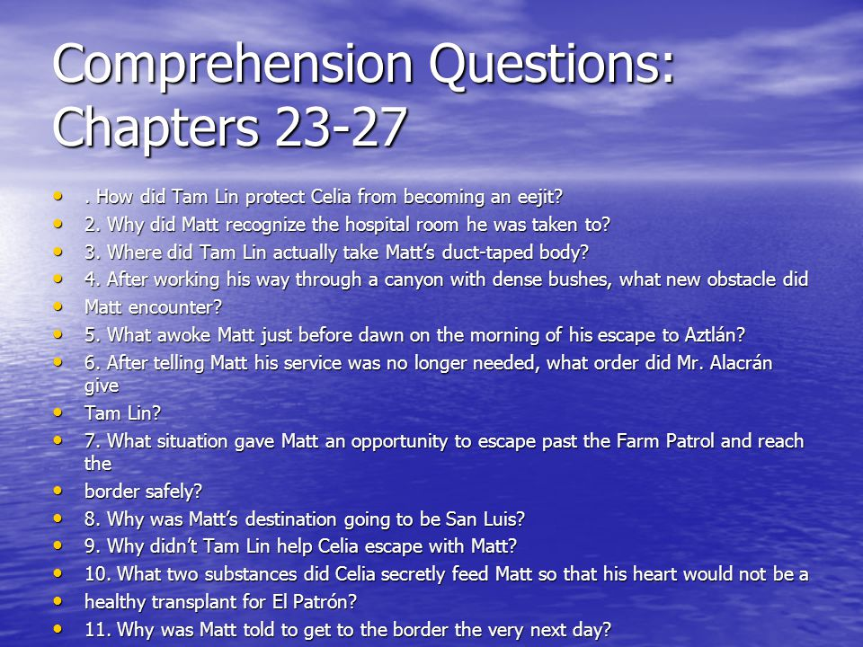 Comprehension Questions: Chapters 23-27. How did Tam Lin protect Celia from becoming an eejit?. How did Tam Lin protect Celia from becoming an eejit?