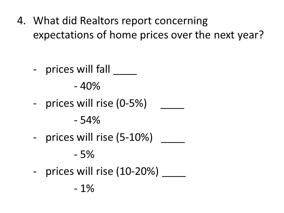 4.What did Realtors report concerning expectations of home prices over the next year.
