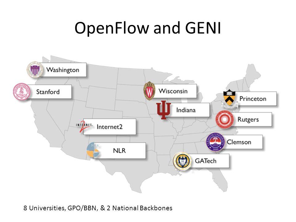 OpenFlow and GENI 8 Universities, GPO/BBN, & 2 National Backbones