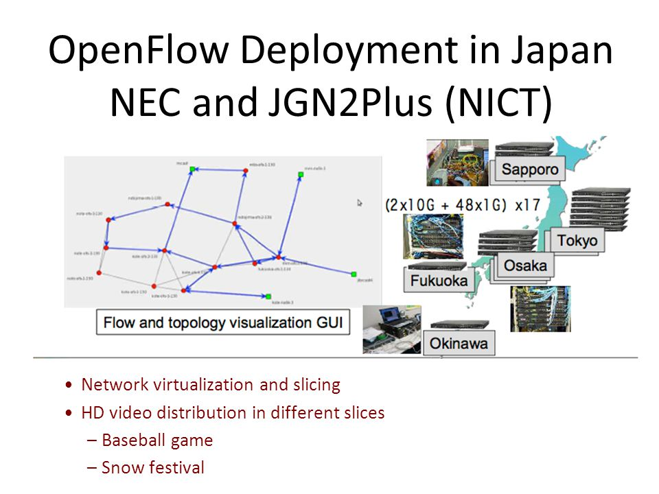 OpenFlow Deployment in Japan NEC and JGN2Plus (NICT) 30 Network virtualization and slicing HD video distribution in different slices –Baseball game –Snow festival