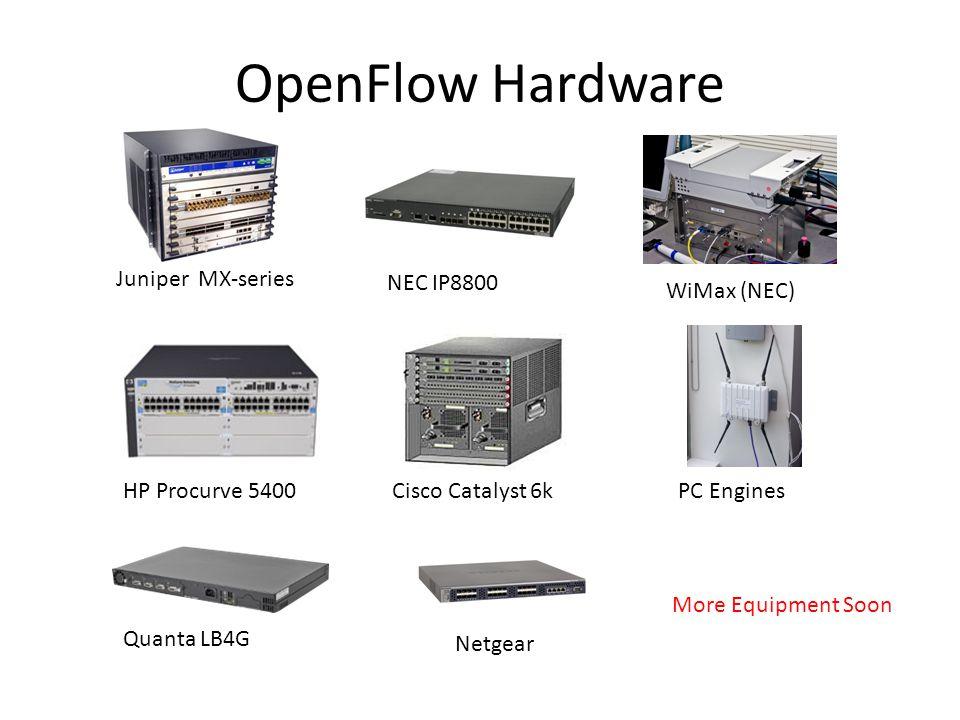 OpenFlow Hardware Cisco Catalyst 6k NEC IP8800 HP Procurve 5400 Juniper MX-series WiMax (NEC) PC Engines Quanta LB4G Netgear More Equipment Soon