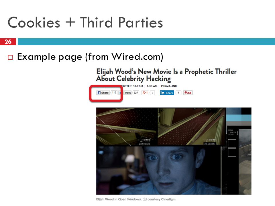 Cookies + Third Parties 26  Example page (from Wired.com)
