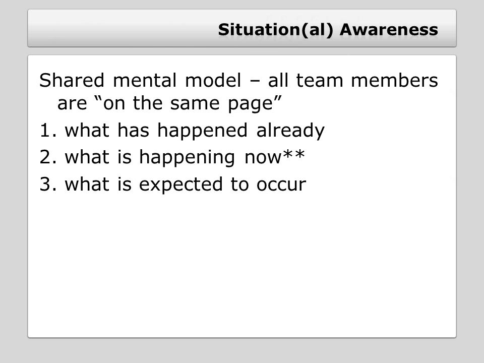 Shared mental model – all team members are on the same page 1.