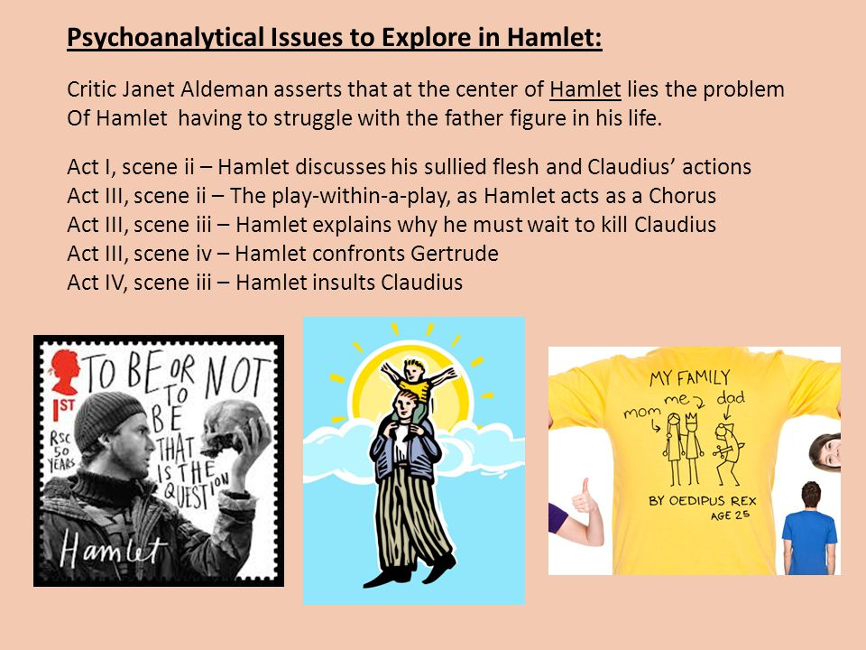 Psychoanalytical Issues to Explore in Hamlet: Critic Janet Aldeman asserts that at the center of Hamlet lies the problem Of Hamlet having to struggle with the father figure in his life.