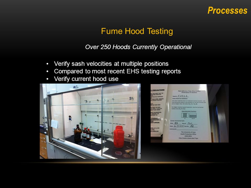 Fume Hood Testing Processes Over 250 Hoods Currently Operational Verify sash velocities at multiple positions Compared to most recent EHS testing reports Verify current hood use