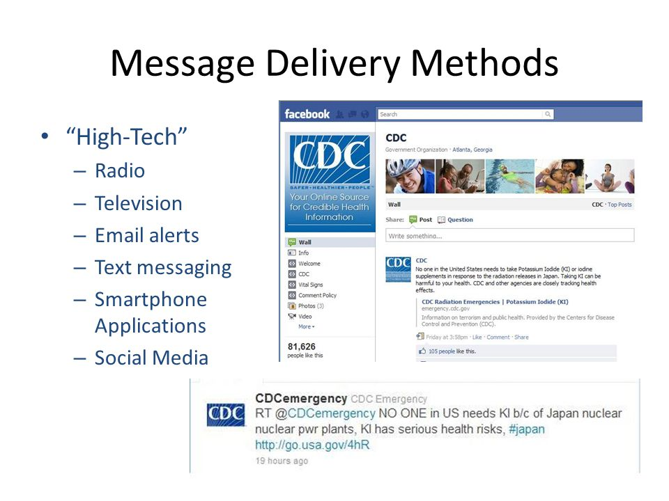 Message Delivery Methods High-Tech – Radio – Television – Email alerts – Text messaging – Smartphone Applications – Social Media