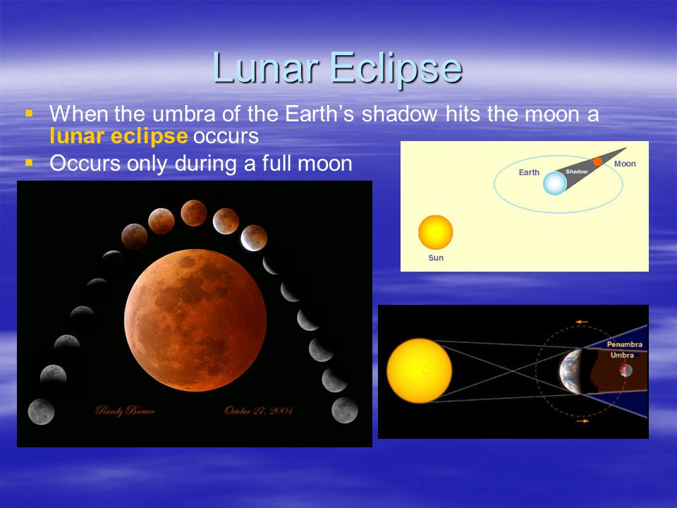 Lunar Eclipse   When the umbra of the Earth's shadow hits the moon a lunar eclipse occurs   Occurs only during a full moon