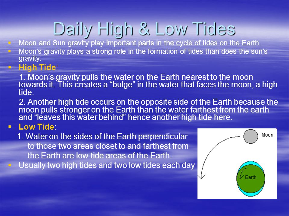 Daily High & Low Tides   Moon and Sun gravity play important parts in the cycle of tides on the Earth.