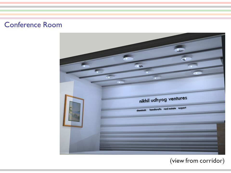 (Description) Conference Room Basic visual of the brand or poster panels to display White Painted Horizontal strips extruding out of the wall plane (50mm) varying the distance from bottom to ceiling Ceiling Down lights