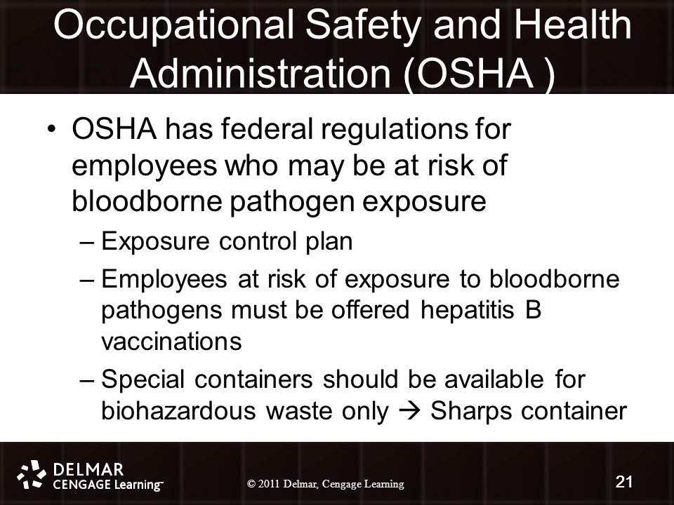 © 2010 Delmar, Cengage Learning 21 © 2011 Delmar, Cengage Learning 21 Occupational Safety and Health Administration (OSHA ) OSHA has federal regulations for employees who may be at risk of bloodborne pathogen exposure –Exposure control plan –Employees at risk of exposure to bloodborne pathogens must be offered hepatitis B vaccinations –Special containers should be available for biohazardous waste only  Sharps container 21