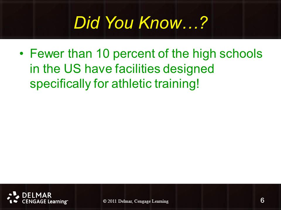 © 2010 Delmar, Cengage Learning 6 © 2011 Delmar, Cengage Learning 6 Did You Know….