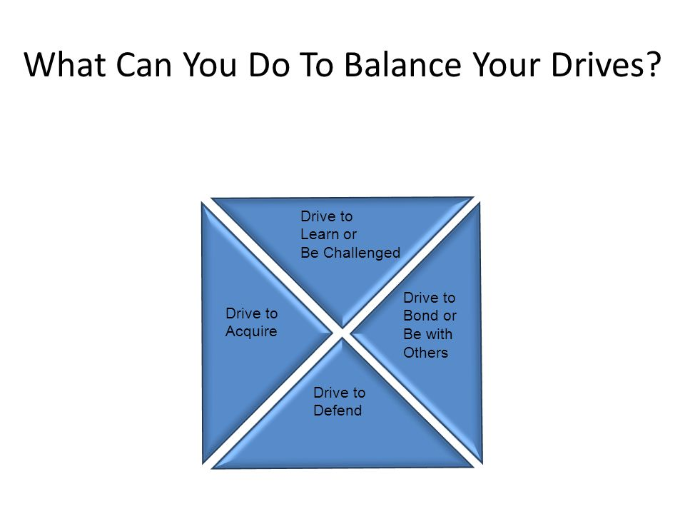 Drive to Defend or Acquire Drive to Defend Drive to Learn or Be Challenged Drive to Bond or Be with Others Drive to Acquire What Can You Do To Balance Your Drives