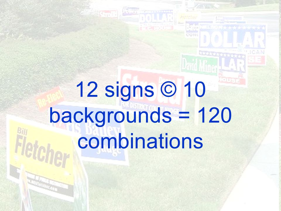 12 signs © 10 backgrounds = 120 combinations