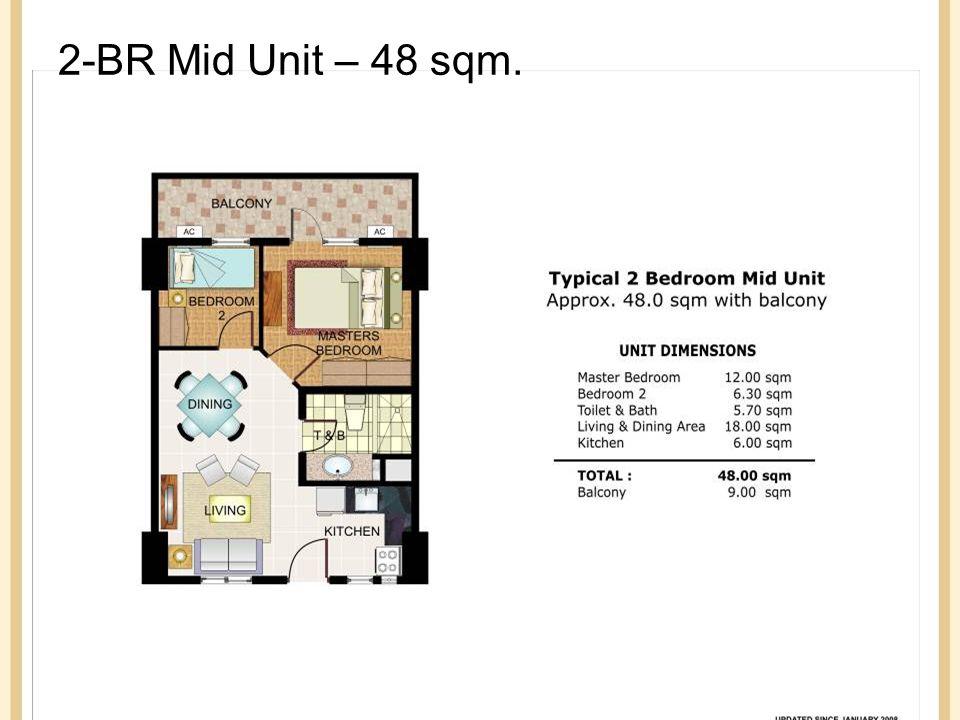 2-BR Mid Unit – 48 sqm.