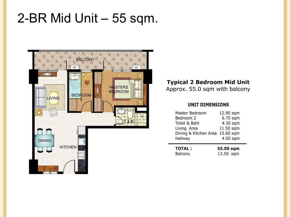 2-BR Mid Unit – 55 sqm.