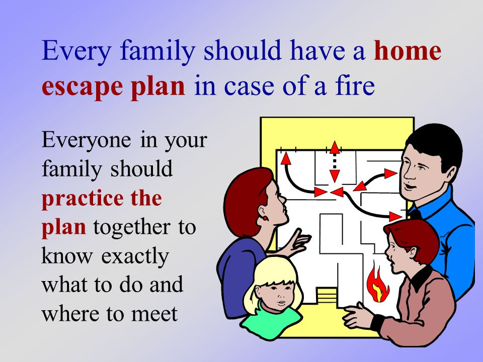 Every family should have a home escape plan in case of a fire Everyone in your family should practice the plan together to know exactly what to do and where to meet