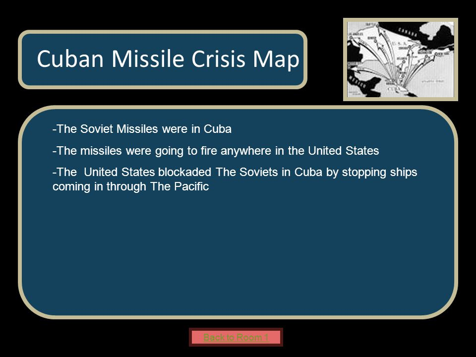 Name of Museum -The Soviet Missiles were in Cuba -The missiles were going to fire anywhere in the United States -The United States blockaded The Soviets in Cuba by stopping ships coming in through The Pacific Cuban Missile Crisis Map Back to Room 1