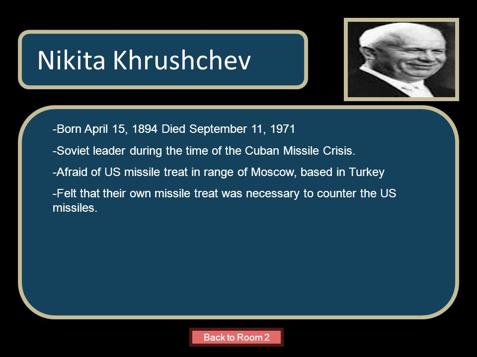 Name of Museum -Born April 15, 1894 Died September 11, 1971 -Soviet leader during the time of the Cuban Missile Crisis.