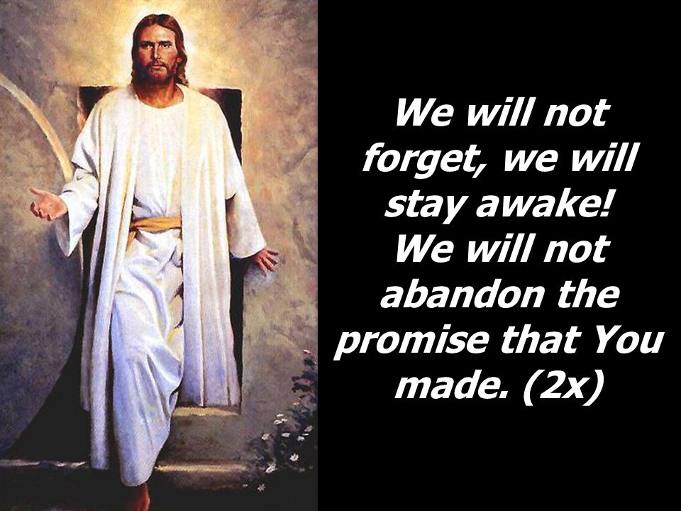 We will not forget, we will stay awake! We will not abandon the promise that You made. (2x)